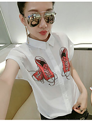 cheap -Women's Daily Casual Shirt,Print Shirt Collar Short Sleeves Cotton