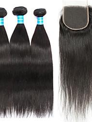 abordables -Cheveux Péruviens Droit Tissages de cheveux humains 4 One Pack Solution