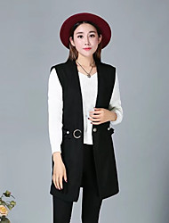Women's Daily Going out Simple Casual Winter Fall Vest,Solid V Neck Sleeveless Long Others Beaded