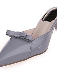 Femme Chaussures Polyuréthane Eté Confort Sandales Talon Plat Bout pointu Noeud Pour Décontracté Habillé Noir Violet Pêche Rouge Rose