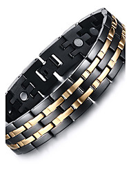 cheap -Men's Chain Bracelet Bangles Multi-stone Natural Fashion Titanium Steel Others Circle Jewelry Gift Daily Costume Jewelry Black