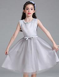 Недорогие -принцесса колено длина цветок девушка платье - атласная сетка без рукавов жемчужина шеи с жемчужиной bflower