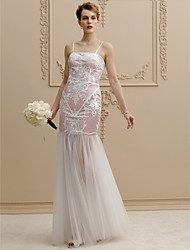 cheap -Sheath / Column Spaghetti Straps Floor Length Lace Tulle Wedding Dress with Appliques by LAN TING BRIDE®