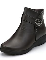 Mujer Zapatos PU Otoño Confort / Botas de Combate Botas Paseo Tacón Bajo Dedo redondo Fruncido Negro / Marrón / Azul 3WM0tZBfE