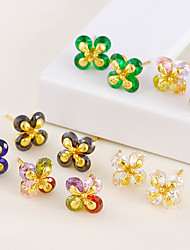 cheap -Women's Floral Flower Cubic Zirconia Gold Plated Stud Earrings - Floral / Cute Style White / Green / Rainbow Four Leaf Clover Earrings For