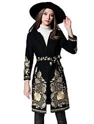 Manteau Femme,Imprimé Soirée Sortie simple Hiver Manches longues Col en V Maxi Autres Brodée