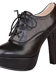 preiswerte -Damen Schuhe PU Frühling Sommer Pumps Modische Stiefel Stiefel Blockabsatz Plattform Spitze Zehe Schnürsenkel für Normal Büro & Karriere