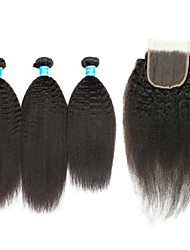 cheap -Human Hair Brazilian Hair Weft with Closure Kinky Straight Hair Extensions Four-piece Suit Black