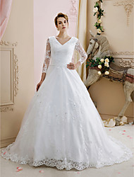 cheap -Ball Gown V-neck Court Train Lace Tulle Wedding Dress with Beading Appliques Buttons by LAN TING BRIDE®