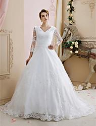 De Baile Decote V Cauda Corte Renda Tule Vestido de casamento com Miçangas Apliques Botões de LAN TING BRIDE®