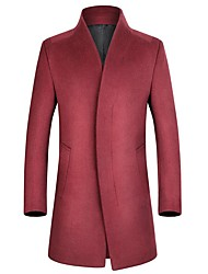 cheap -Men's Party / Work Long Plus Size Wool Slim Pea Coat - Solid Colored Stand / Long Sleeve