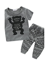 cheap -Boys' Print Clothing Set,Cotton Summer Short Sleeve Cartoon Black