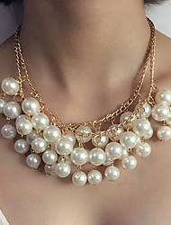 cheap -Women's Pendant Necklace / Statement Necklace - Imitation Pearl Statement, Luxury White Necklace For Wedding, Evening Party