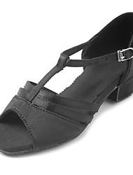 Kids' Latin Satin Sandal Heel Beginner Buckle Chunky Heel Black 1 - 1 3/4 Customizable