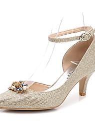 preiswerte -Damen Schuhe Glanz Frühling Herbst Pumps Knöchelriemen Hochzeit Schuhe Konischer Absatz Spitze Zehe Strass Kristall Glitter Für Hochzeit