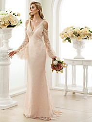 Sheath / Column Plunging Neckline Sweep / Brush Train Lace Wedding Dress with Bow(s) Crystal Detailing by LAN TING BRIDE®