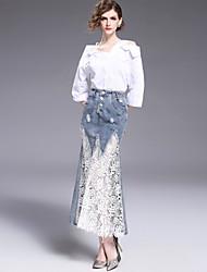 abordables -Mujer Adorable Noche Midi Faldas,Corte Bodycon Encaje Otoño Bloque de Color