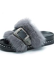 Women's Shoes Fleece Fall Winter Moccasin Comfort Slippers & Flip-Flops Flat Heel Open Toe Feather Buckle For Casual Dress Gray Black