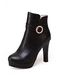 Damen Stiefel Komfort Neuheit Stiefeletten Herbst Winter Kunstleder Normal Strass Blockabsatz Weiß Schwarz Rosa 10 - 12 cm
