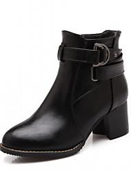 Damen Schuhe Kunstleder Herbst Winter Komfort Neuheit Stiefeletten Stiefel Blockabsatz Runde Zehe Booties / Stiefeletten Schnalle Für