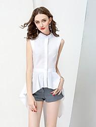 Camicia Da donna Casual Semplice Estate Autunno,Tinta unita Girocollo Cotone Senza maniche Medio spessore
