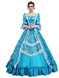 cheap -Cosplay Costume Masquerade Women's Christmas Halloween Carnival New Year Festival / Holiday Halloween Costumes Blue Print Solid Color Lace