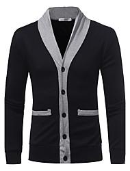 Standard Cardigan Da uomo-Per uscire Casual Semplice Tinta unita A V Manica lunga Cashmere Lana Autunno Inverno Medio spessore Media