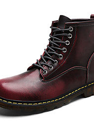 cheap -Men's Shoes Leather Fall Comfort Fashion Boots Combat Boots Boots Lace-up For Casual Outdoor Burgundy Brown Gray Black