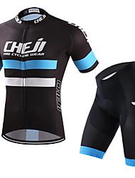 billiga Sport och friluftsliv-cheji® Herr Kortärmad Cykeltröja med shorts - Blå/Svart Cykel Klädesset, Snabb tork, Sommar