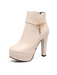 cheap -Women's Shoes Leatherette Spring Winter Fashion Boots Boots Chunky Heel Round Toe Booties/Ankle Boots Rhinestone For Casual Office &