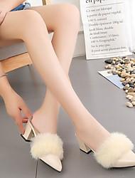 Femme Chaussures Polyuréthane Automne Confort Sabot & Mules Gros Talon Bout pointu Pour Décontracté Noir Beige