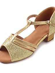 Kids' Latin Sparkling Glitter Glitter Leatherette Sandal Heel Beginner Sequin Buckle Sparkling Glitter Chunky Heel Gold 1 - 1 3/4