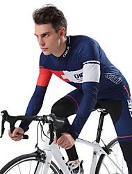 economico -cheji® Maglia con pantaloni da ciclismo Per uomo Manica lunga Bicicletta Set di vestiti Asciugatura rapida Traspirabilità Elastico Di