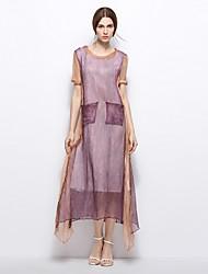 Women's Party Vintage A Line Dress,Color Block Round Neck Maxi Short Sleeves Silk Linen Summer Mid Rise Inelastic Medium