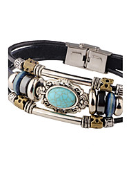cheap -Men's Turquoise Leather Leather Bracelet - Personalized Vintage Tube Oval Black Brown Bracelet For Casual Stage