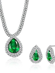 Women's Drop Earrings Pendant Necklaces Crystal Cubic Zirconia Synthetic Emerald AAA Cubic Zirconia Fashion Luxury Crystal Zircon Drop