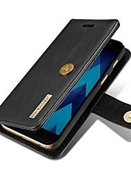 Недорогие -Кейс для Назначение SSamsung Galaxy A5(2017) A3(2017) Бумажник для карт Кошелек Флип Магнитный Чехол Сплошной цвет Твердый Настоящая кожа