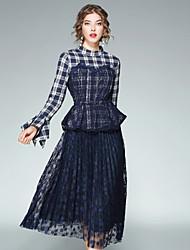 Camicia Gonna Completi abbigliamento Da donna Per uscire Casual Moda città Autunno,A quadri Colletto alla coreana Con balze Retato Manica