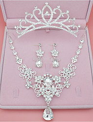 Mulheres Brincos Curtos Colar Diamante sintético Clássico Estilo simples Casamento Festa Aniversário Noivado Liga Formato Coroa Jóias