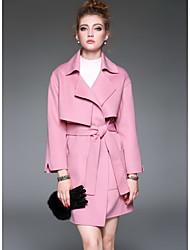 Women's Going out Cute Winter Coat,Solid Shirt Collar Long Sleeve Regular Wool