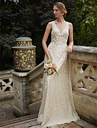 cheap -Sheath / Column V-neck Floor Length Lace Wedding Dress with Flower(s) Sashes/ Ribbons Sequins by LAN TING BRIDE®
