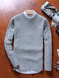 preiswerte -Herren Standard Pullover-Lässig/Alltäglich Solide Gestreift Rundhalsausschnitt Langarm Baumwolle Herbst Winter Mittel Mikro-elastisch