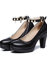 Women's Heels Basic Pump Spring Fall Real Leather Party & Evening Dress Imitation Pearl Buckle Platform Black 4in-4 3/4in