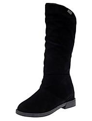 preiswerte -Damen Schuhe Nubukleder PU Herbst Komfort Modische Stiefel Stiefel Blockabsatz Runde Zehe Mittelhohe Stiefel Für Normal Schwarz Rot