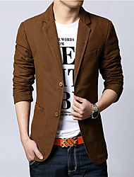 Men's Casual/Daily Work Simple Spring Fall Blazer,Solid Notch Lapel Long Sleeve Regular Cotton
