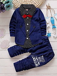 cheap -Baby Boys' Indoor Outdoor Casual/Daily School Solid Clothing Set, Cotton All Seasons Long Sleeves Green Red Gray Royal Blue