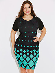 cheap -Women's Plus Size Going out Bodycon Dress - Geometric Print