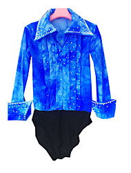 Figure Skating Top Men's Boys' Ice Skating Shirt Azure Spandex Rhinestone High Elasticity Performance Skating Wear Handmade Solid Long