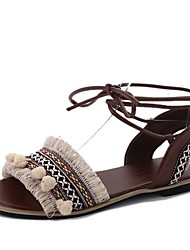 cheap -Women's Shoes PU Summer Slingback Sandals Low Heel Round Toe Lace-up For Dress Beige Black