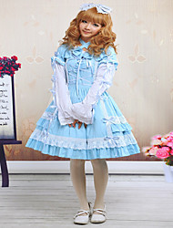 cheap -Sweet Lolita Dress Princess Satin One Piece Dress Cosplay Blue Sleeveless
